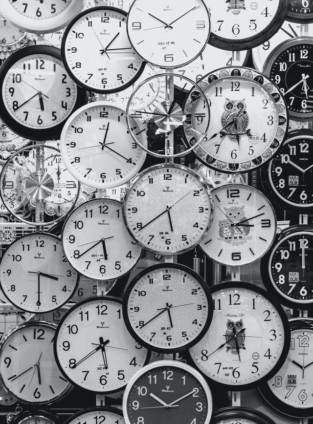 A picture of many clocks to symbolize the pressures of time and the importance of efficient time management for writers.