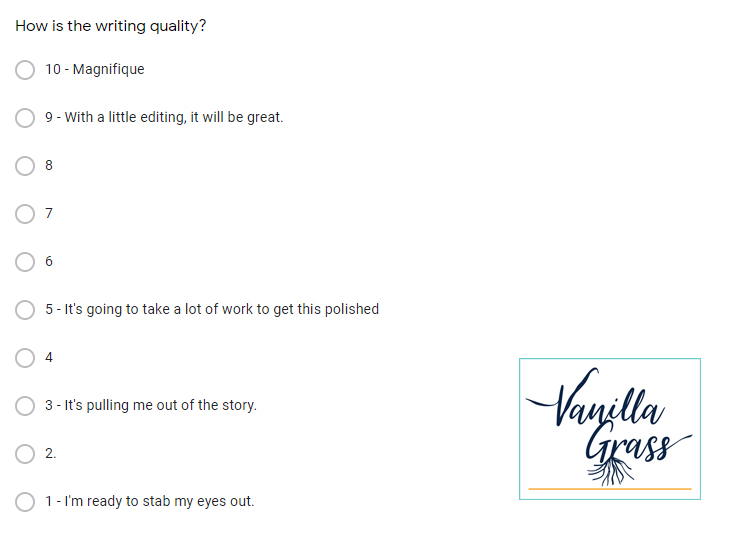 Sample screenshot of the questions asked in a trial alpha read for a book.