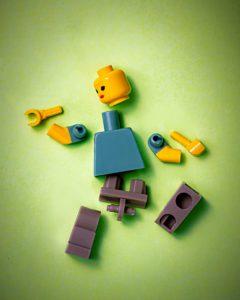 Breaking down a goal is like breaking apart bricks.