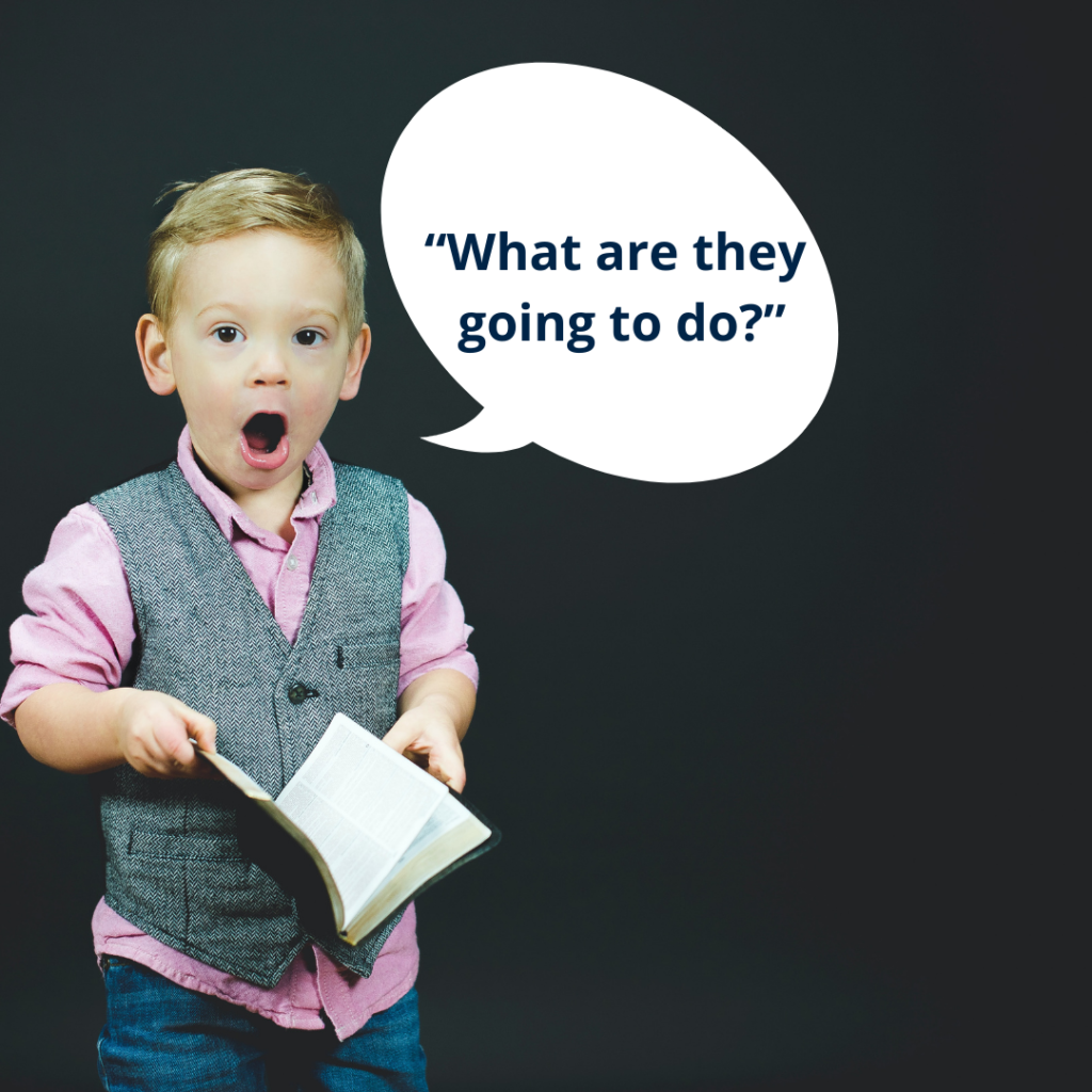 """Boy with book asking, """"What are they going to do?"""""""